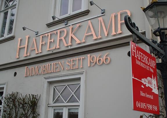 Gefräste Kupferbuchstaben Haferkamp