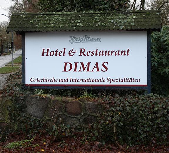 Neobond-Schild Dimas Restaurant